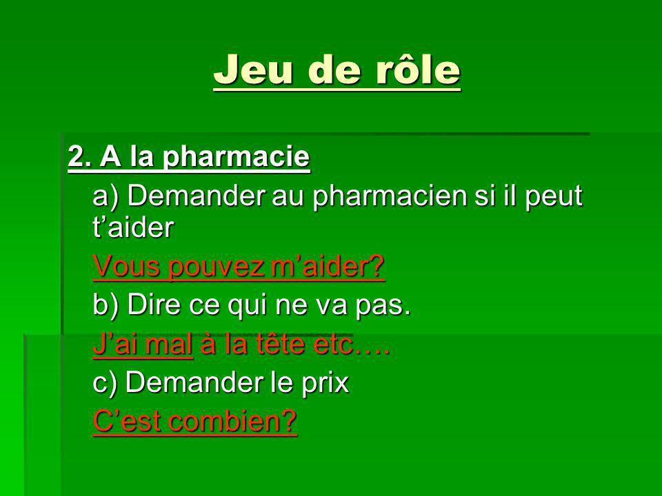 Jeu de rôle 2. A la pharmacie