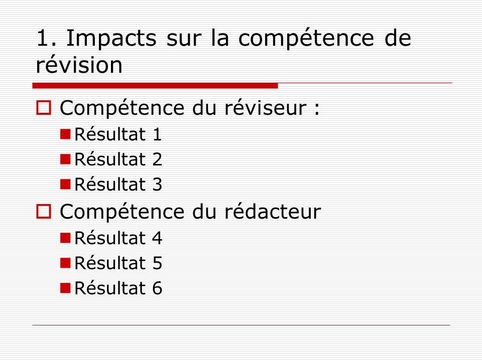 1. Impacts sur la compétence de révision