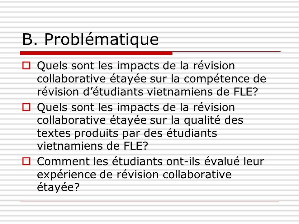 B. Problématique Quels sont les impacts de la révision collaborative étayée sur la compétence de révision d'étudiants vietnamiens de FLE