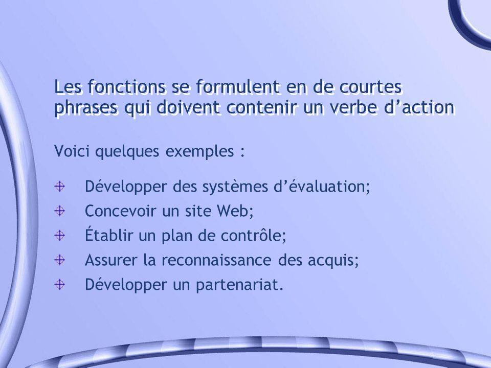 Les fonctions se formulent en de courtes phrases qui doivent contenir un verbe d'action