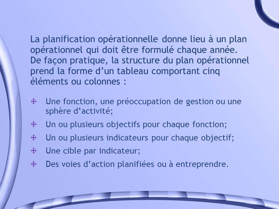 La planification opérationnelle donne lieu à un plan opérationnel qui doit être formulé chaque année. De façon pratique, la structure du plan opérationnel prend la forme d'un tableau comportant cinq éléments ou colonnes :