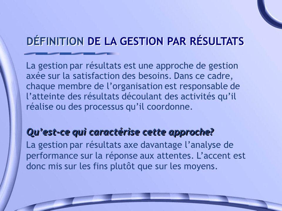DÉFINITION DE LA GESTION PAR RÉSULTATS