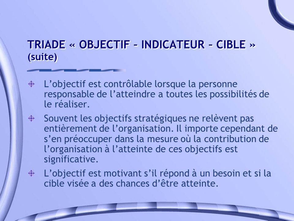 TRIADE « OBJECTIF – INDICATEUR – CIBLE » (suite)