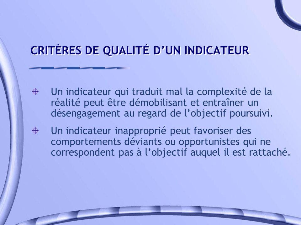 CRITÈRES DE QUALITÉ D'UN INDICATEUR