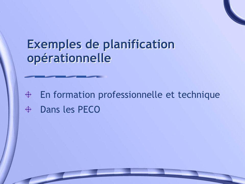 Exemples de planification opérationnelle