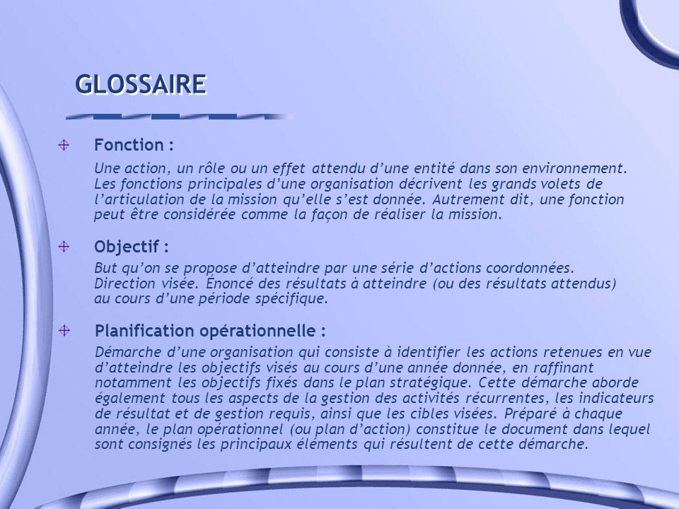 GLOSSAIRE Fonction :