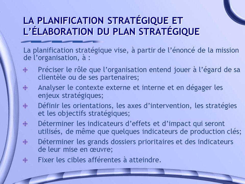 LA PLANIFICATION STRATÉGIQUE ET L'ÉLABORATION DU PLAN STRATÉGIQUE
