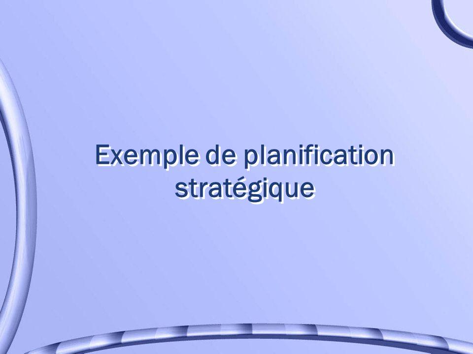 Exemple de planification stratégique