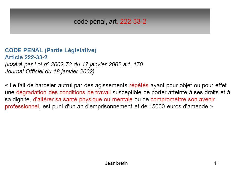 code pénal, art. 222-33-2 CODE PENAL (Partie Législative)