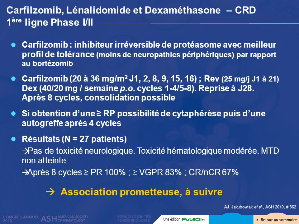 Carfilzomib, Lénalidomide et Dexaméthasone – CRD 1ère ligne Phase I/II