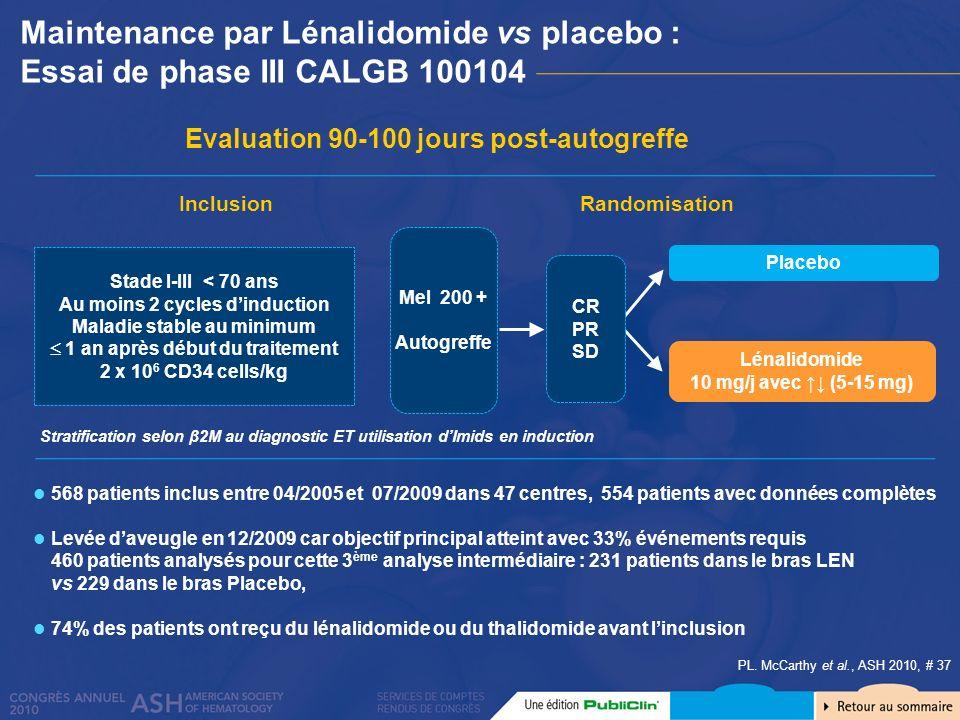 Maintenance par Lénalidomide vs placebo : Essai de phase III CALGB 100104