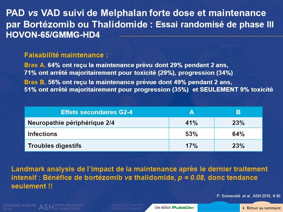 PAD vs VAD suivi de Melphalan forte dose et maintenance par Bortézomib ou Thalidomide : Essai randomisé de phase III HOVON-65/GMMG-HD4