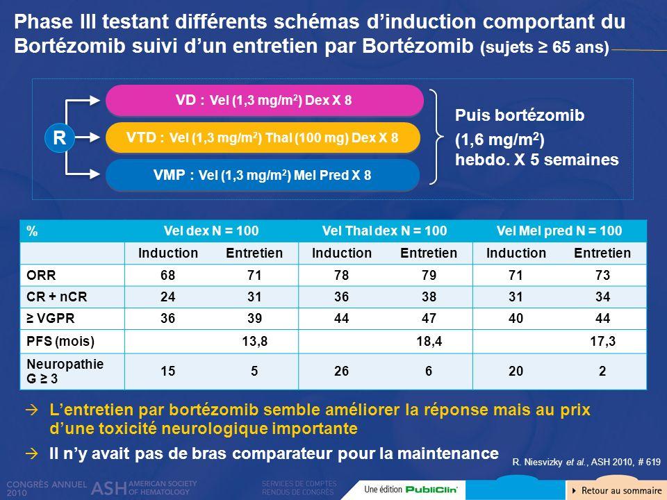 Phase III testant différents schémas d'induction comportant du Bortézomib suivi d'un entretien par Bortézomib (sujets ≥ 65 ans)