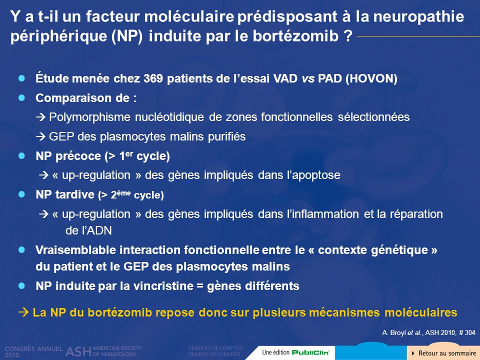 Y a t-il un facteur moléculaire prédisposant à la neuropathie périphérique (NP) induite par le bortézomib