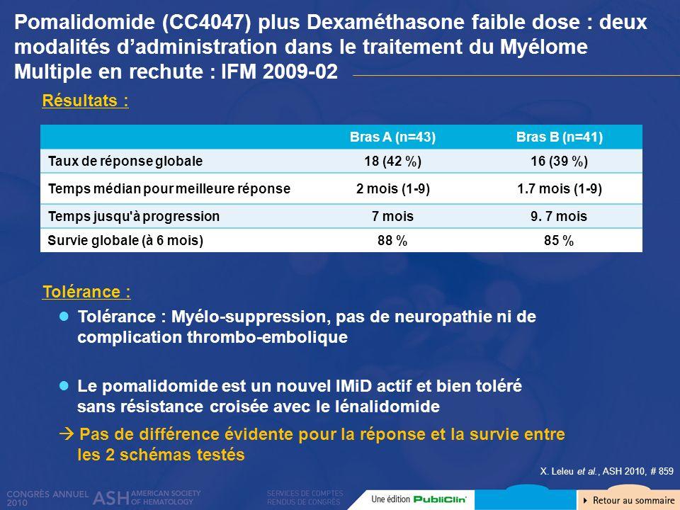 Pomalidomide (CC4047) plus Dexaméthasone faible dose : deux modalités d'administration dans le traitement du Myélome Multiple en rechute : IFM 2009-02