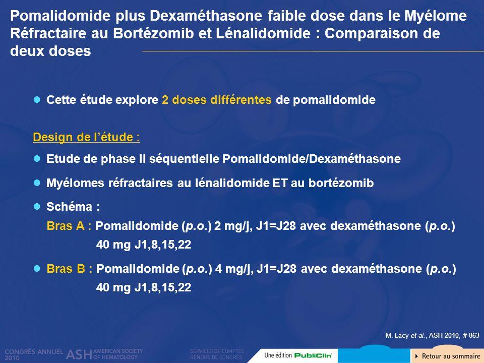 Pomalidomide plus Dexaméthasone faible dose dans le Myélome Réfractaire au Bortézomib et Lénalidomide : Comparaison de deux doses
