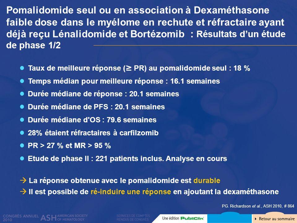 Pomalidomide seul ou en association à Dexaméthasone faible dose dans le myélome en rechute et réfractaire ayant déjà reçu Lénalidomide et Bortézomib : Résultats d'un étude de phase 1/2