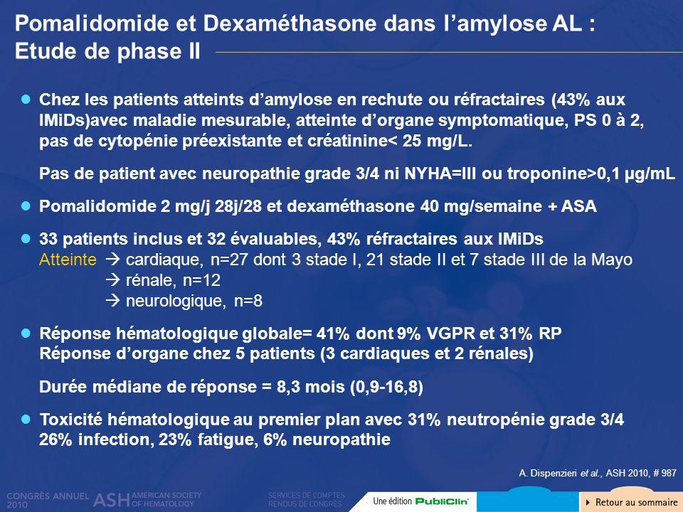 Pomalidomide et Dexaméthasone dans l'amylose AL : Etude de phase II