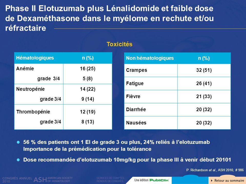 Phase II Elotuzumab plus Lénalidomide et faible dose de Dexaméthasone dans le myélome en rechute et/ou réfractaire