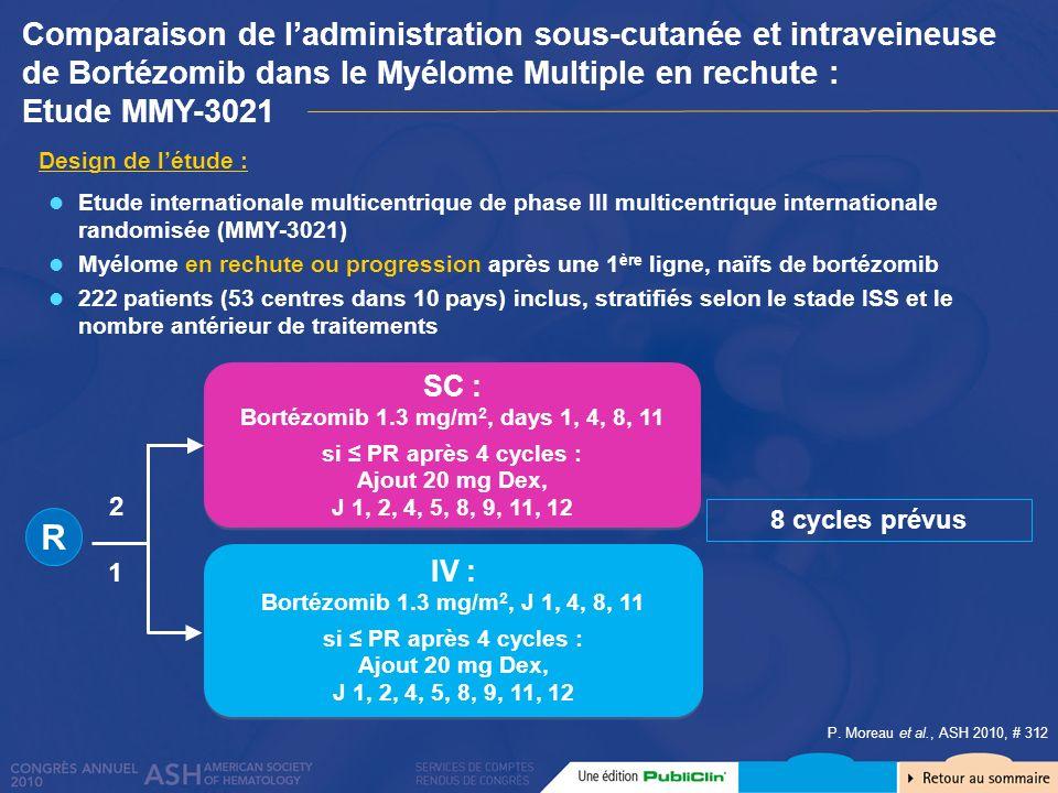 Comparaison de l'administration sous-cutanée et intraveineuse de Bortézomib dans le Myélome Multiple en rechute :