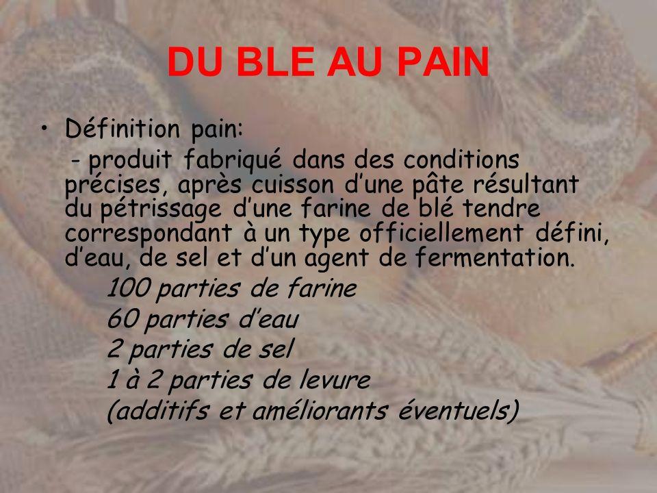 DU BLE AU PAIN Définition pain: