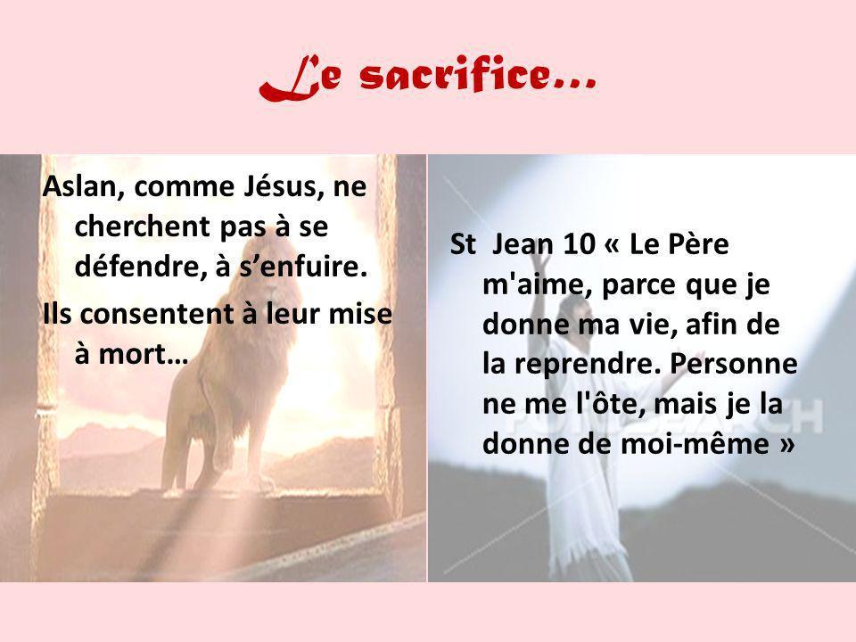 Le sacrifice… Aslan, comme Jésus, ne cherchent pas à se défendre, à s'enfuire. Ils consentent à leur mise à mort…