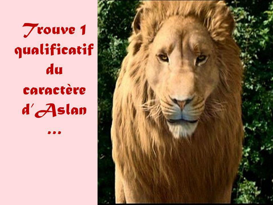 Trouve 1 qualificatif du caractère d'Aslan …