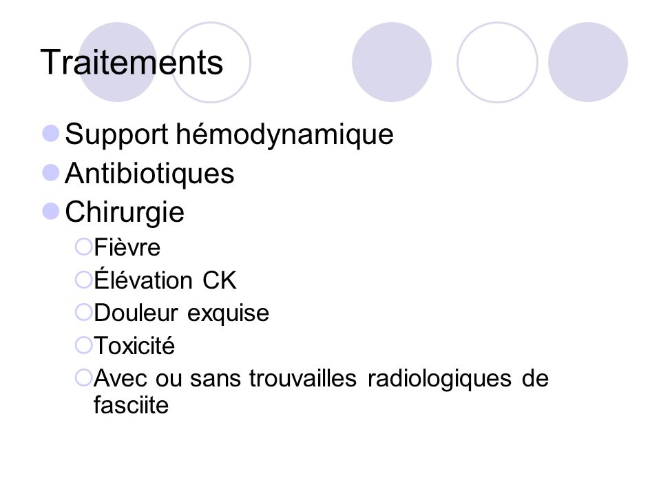 Traitements Support hémodynamique Antibiotiques Chirurgie Fièvre