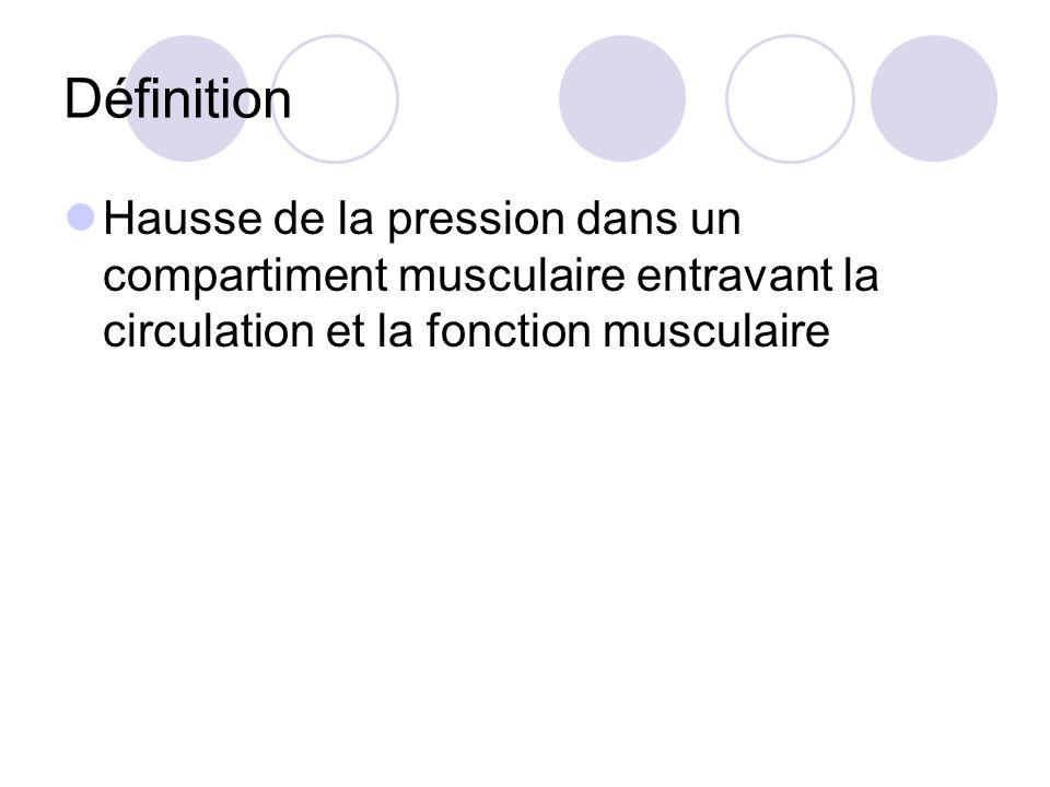 Définition Hausse de la pression dans un compartiment musculaire entravant la circulation et la fonction musculaire.