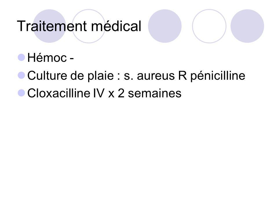 Traitement médical Hémoc - Culture de plaie : s. aureus R pénicilline