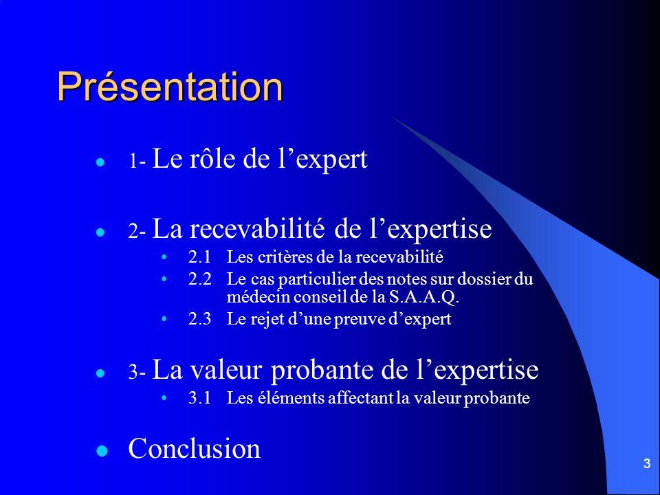 Présentation Conclusion 1- Le rôle de l'expert