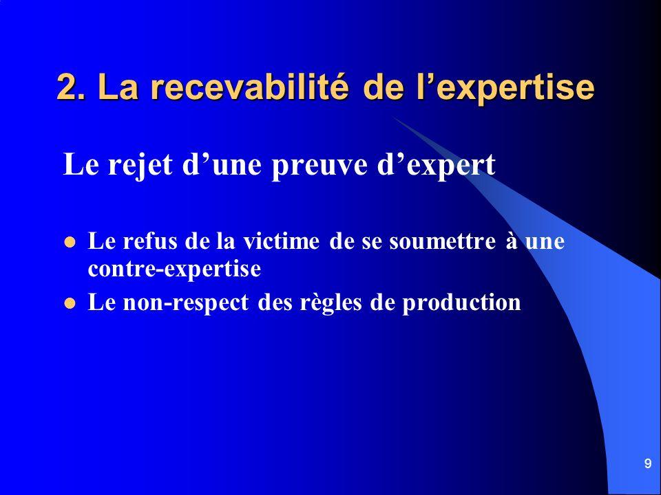 2. La recevabilité de l'expertise