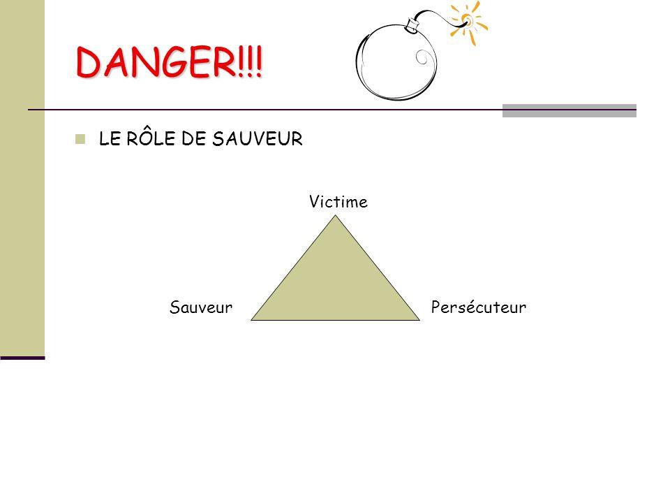 DANGER!!! LE RÔLE DE SAUVEUR Victime Sauveur Persécuteur