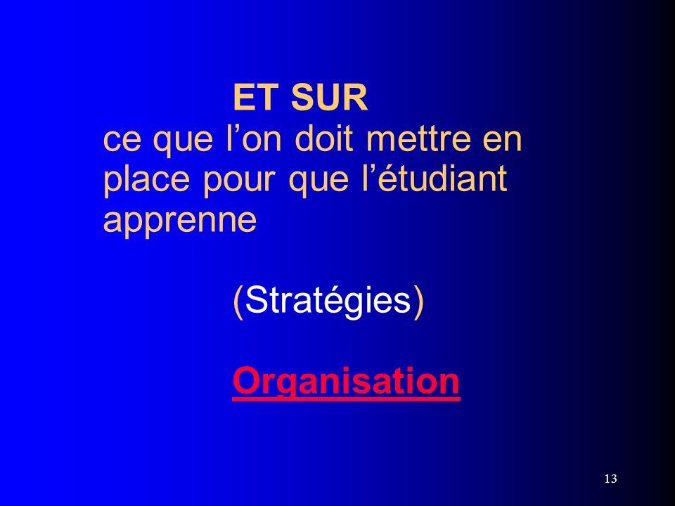 ET SUR ce que l'on doit mettre en place pour que l'étudiant apprenne (Stratégies) Organisation