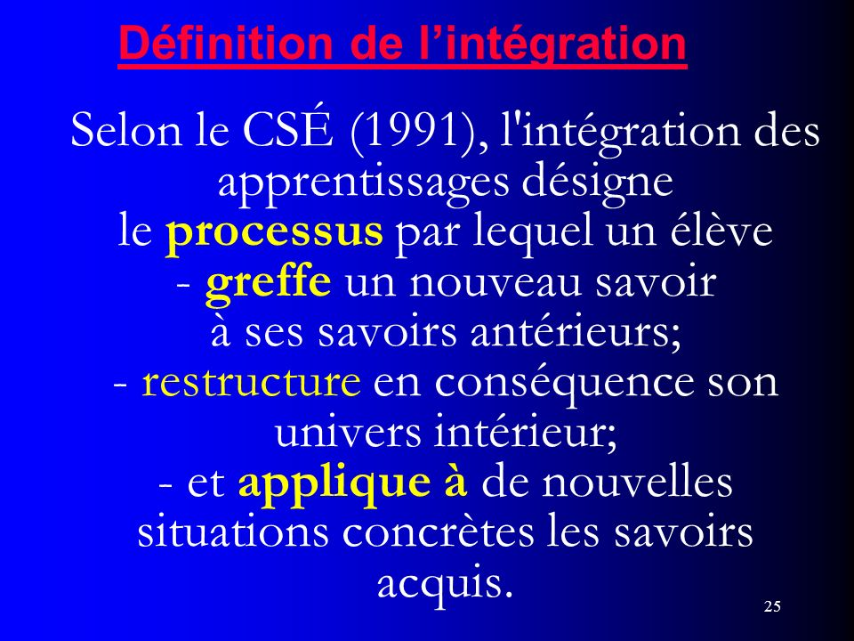 Définition de l'intégration