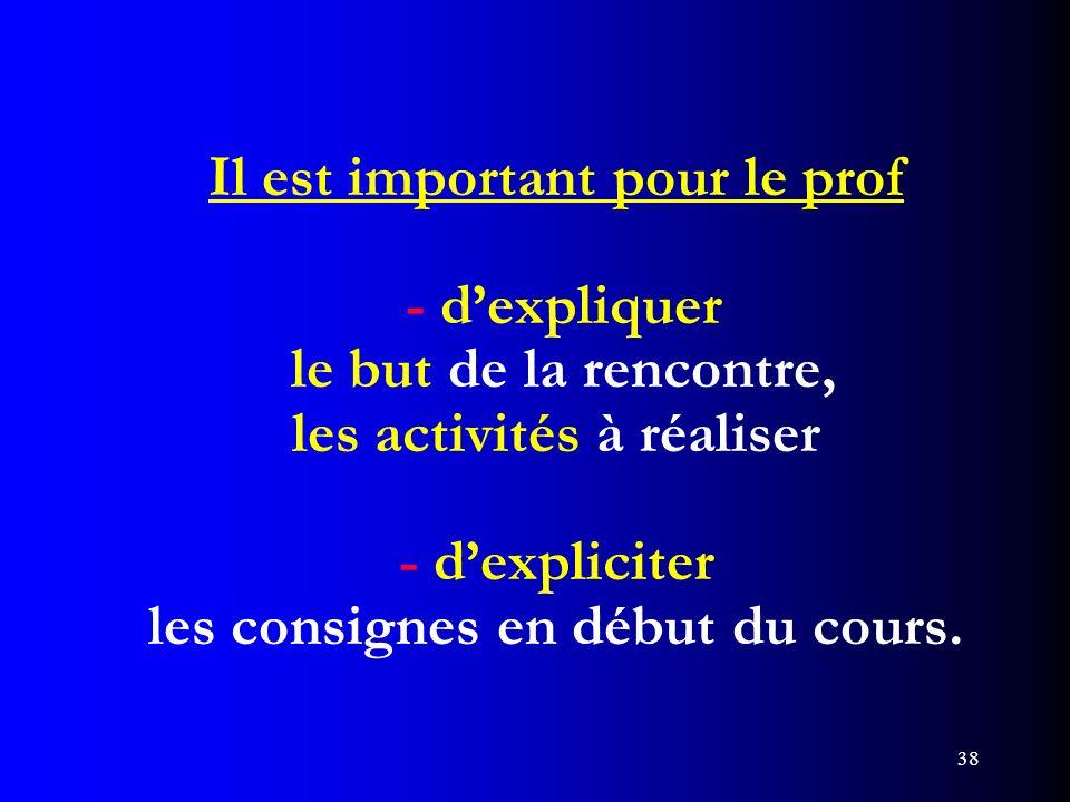Il est important pour le prof - d'expliquer le but de la rencontre, les activités à réaliser - d'expliciter les consignes en début du cours.