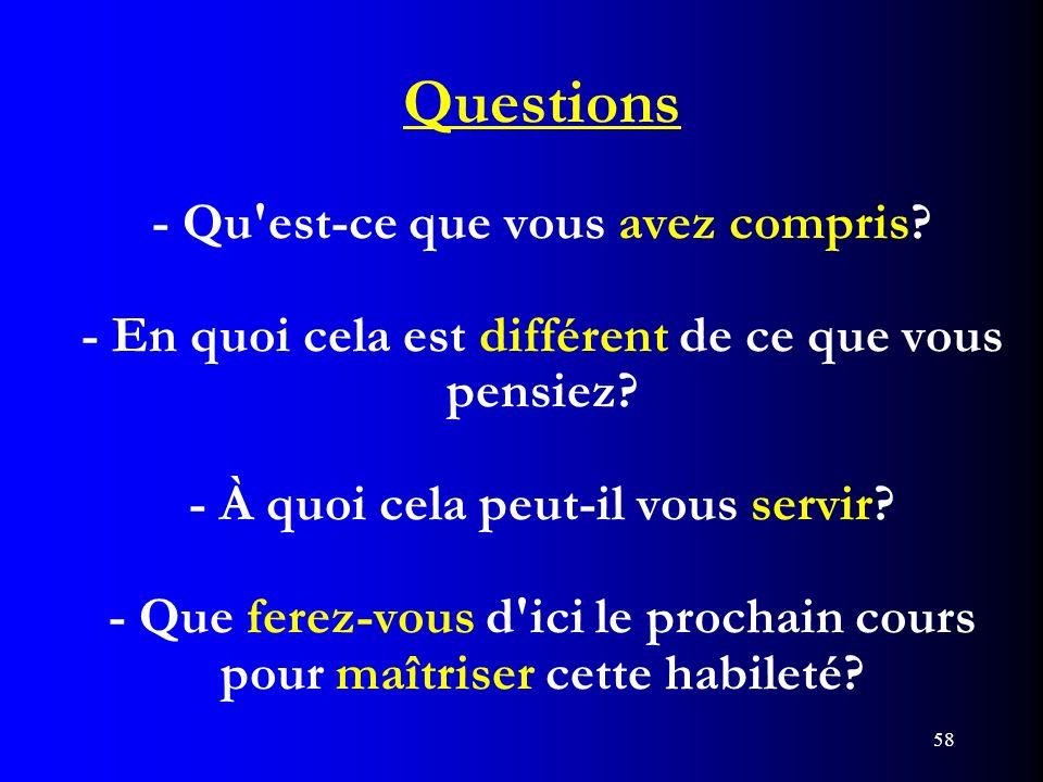 Questions - Qu est-ce que vous avez compris