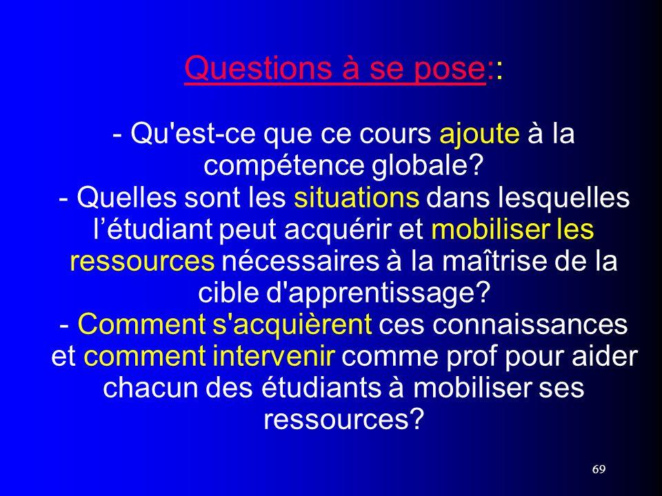 Questions à se pose:: - Qu est-ce que ce cours ajoute à la compétence globale - Quelles sont les situations dans lesquelles l'étudiant peut acquérir et mobiliser les ressources nécessaires à la maîtrise de la cible d apprentissage - Comment s acquièrent ces connaissances et comment intervenir comme prof pour aider chacun des étudiants à mobiliser ses ressources