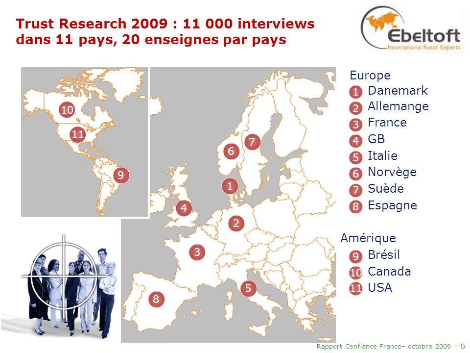 Trust Research 2009 : 11 000 interviews dans 11 pays, 20 enseignes par pays