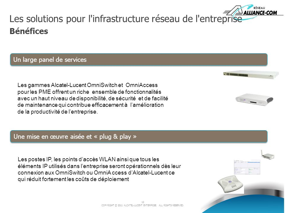 Les solutions pour l infrastructure réseau de l entreprise Bénéfices