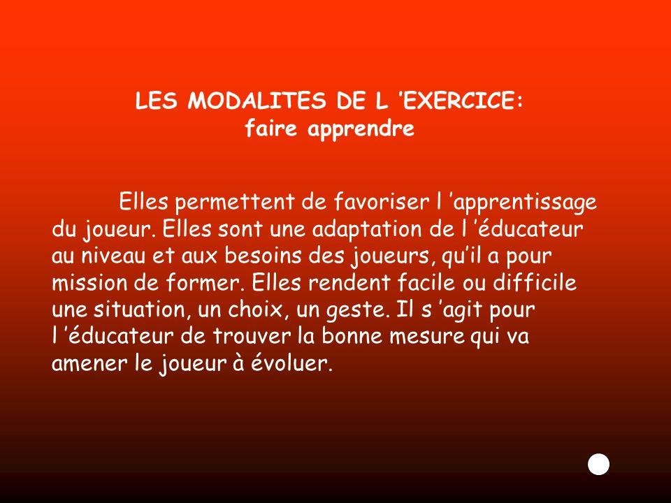 LES MODALITES DE L 'EXERCICE: faire apprendre