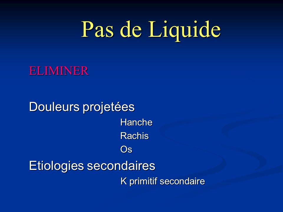 Pas de Liquide ELIMINER Douleurs projetées Etiologies secondaires