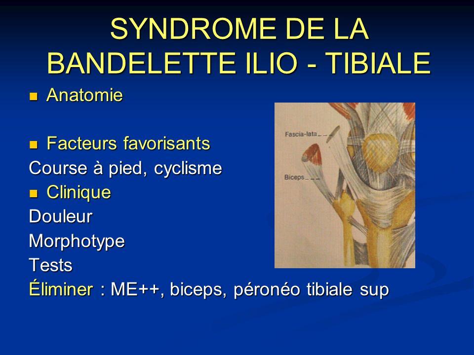 SYNDROME DE LA BANDELETTE ILIO - TIBIALE