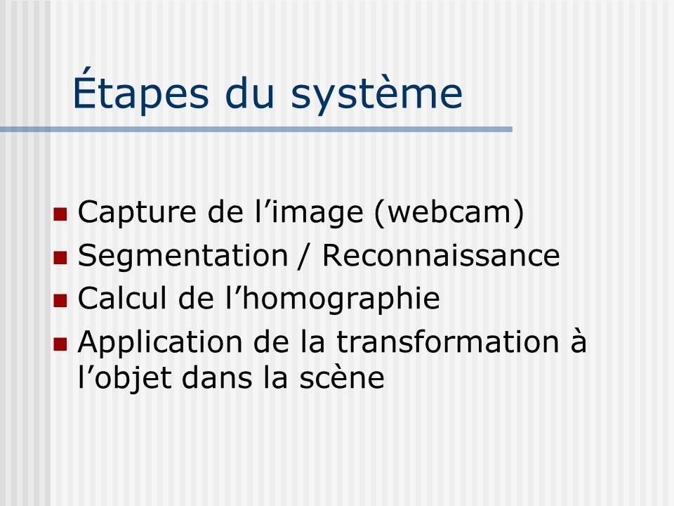 Étapes du système Capture de l'image (webcam)