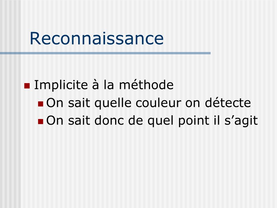 Reconnaissance Implicite à la méthode