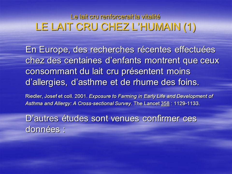 Le lait cru renforcerait la vitalité LE LAIT CRU CHEZ L'HUMAIN (1)