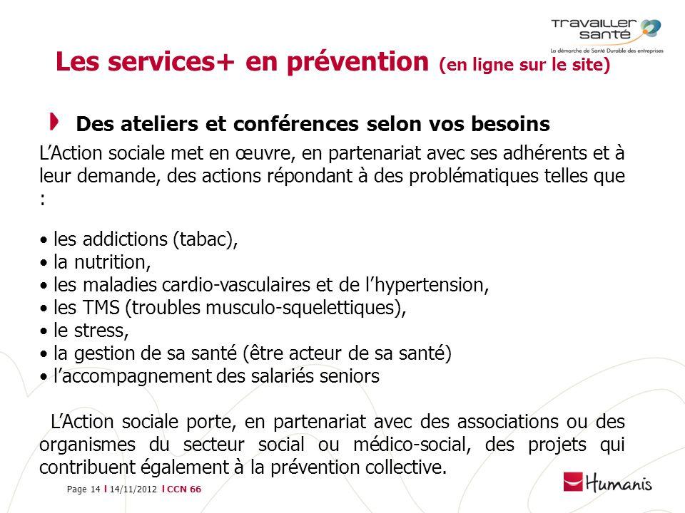 Les services+ en prévention (en ligne sur le site)