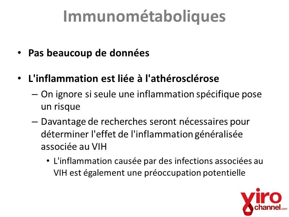 Immunométaboliques Pas beaucoup de données