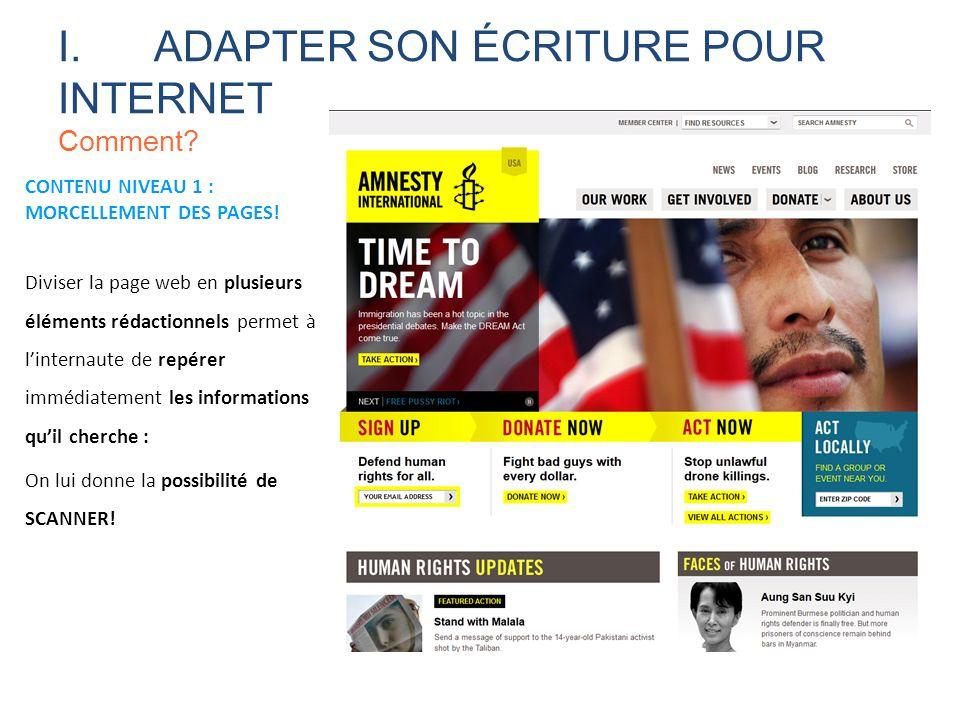I. ADAPTER SON ÉCRITURE POUR INTERNET Comment
