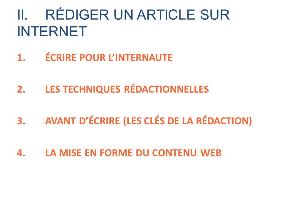 II. RÉDIGER UN ARTICLE SUR INTERNET